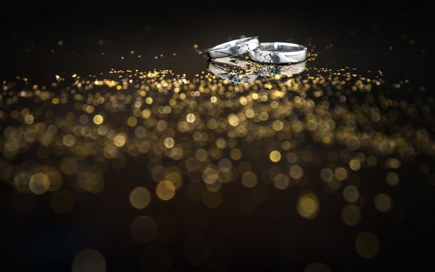 Groom Platinum Wedding Bokeh Both Bride Close-up Closeup Cople Daimond Illuminated Luxury Night Precious Gem Ring Selective Focus Shiny Soulmate