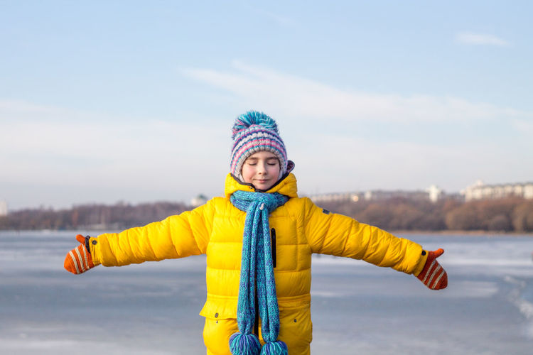 Winter Yellow Real People Minsk Belarus Girl Outdoors Lake Happiness Portrait Human Face The Portraitist - 2017 EyeEm Awards