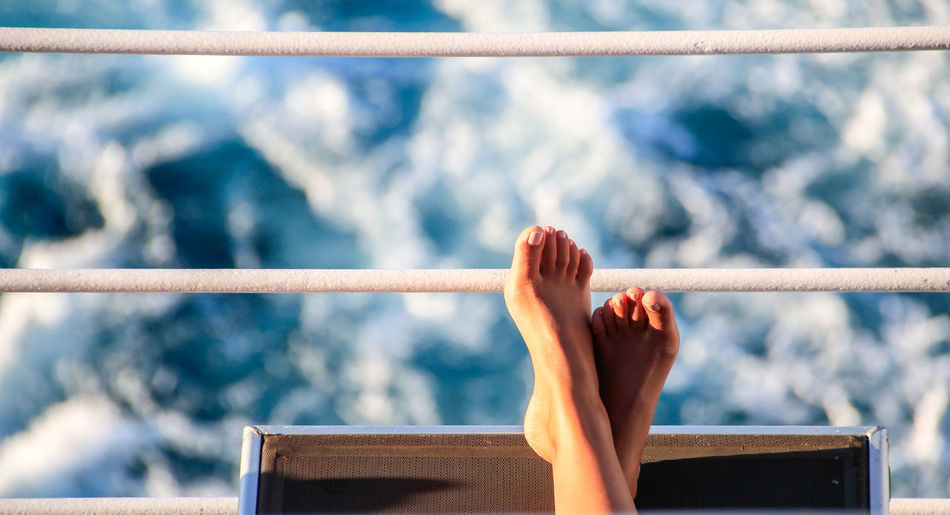 Relax Boat Trip Carefree Cruise Cruise Ships Feet Feet Up Holiday Mediterranean  Mediterranean Sea Outdoors Railing Rear View Relaxing Sea Ship Stern Vacation