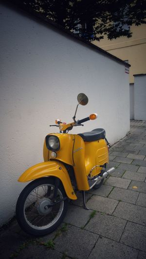 Street Transportation Mode Of Transport Yellow Land Vehicle Stationary No People Day Motorcycle Outdoors Paint The Town Yellow