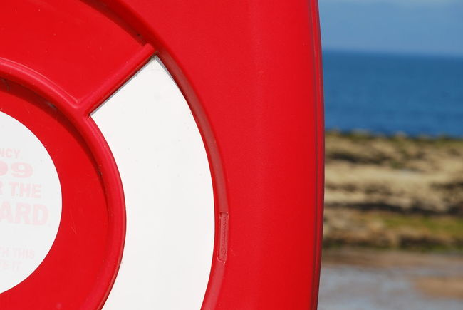 Close-up Day Lifebelt Nature No People Outdoors Red Red And White Colour Red Color Scottish Beach Sea Seaside Water