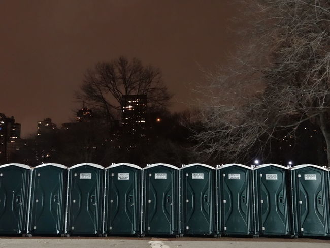 New Year's Eve toilets in Central Park Beautifully Organized Central Park Cold New York Night Outdoors Sky Toilet