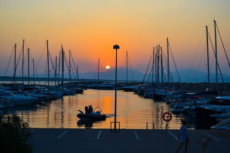 Puerto de sant Pere , Mallorca Mallorca Sunset Sunset Water Transportation Sky Nautical Vessel Mode Of Transportation Sea Beauty In Nature Moored Pole Reflection Tranquility Sailboat Tranquil Scene Nature Scenics - Nature Harbor Orange Color No People Mast