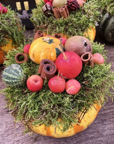 High angle view of pumpkins on potted plant