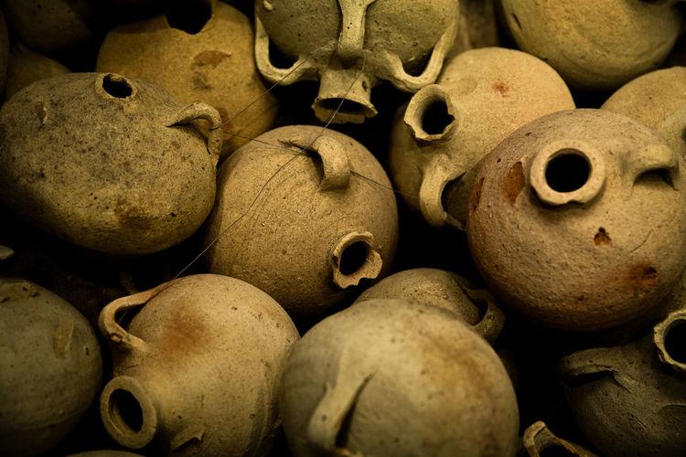 Full frame shot of hand grenades
