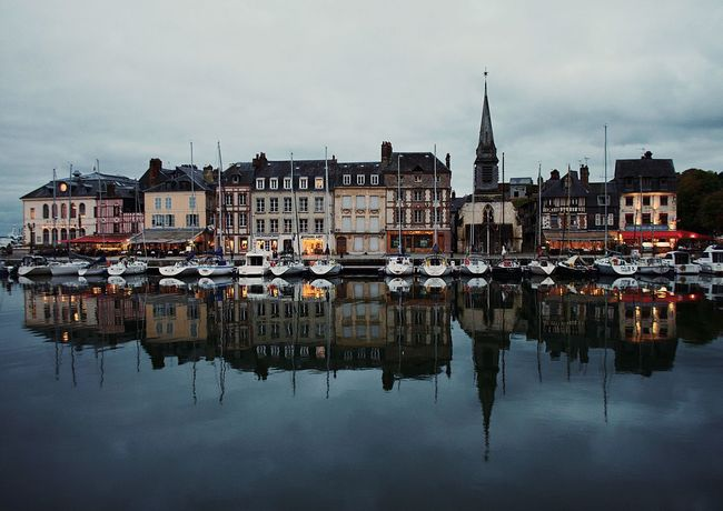 Calm waters Reflection Building Exterior Architecture Built Structure Water Waterfront Sky Travel Destinations Cloud - Sky House No People Outdoors Day Nautical Vessel Town City Harbor Cityscape Nature Honfleur France Normandie VSCO Travel