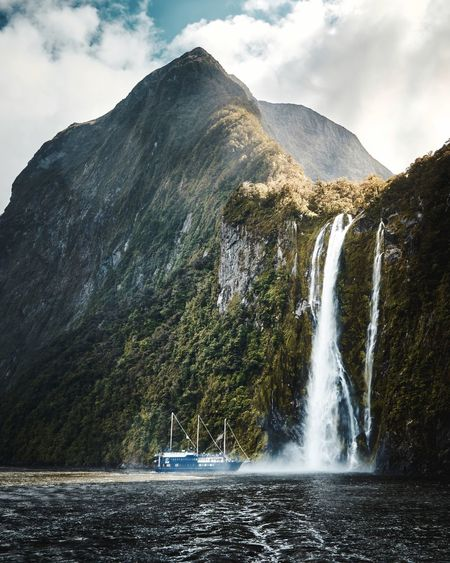 Ship Mountain Water Scenics - Nature Beauty In Nature Sky Nature Waterfall Mountain Range Outdoors Splashing Waterfront Nautical Vessel My Best Photo My Best Photo