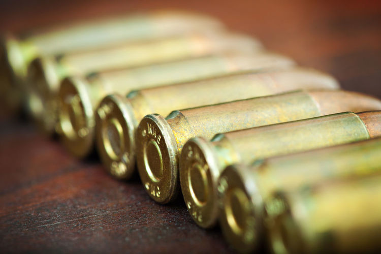 Ammunition Bullet Close-up Day Indoors  No People Selective Focus Table Weapon