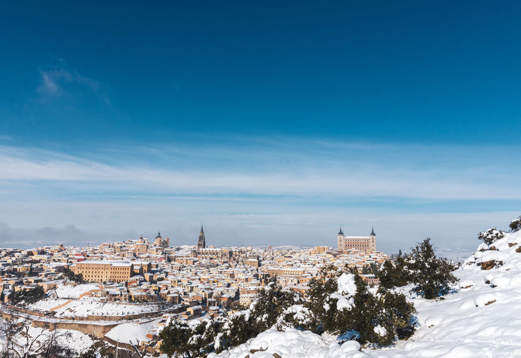 Panoramic snowy view of the city of toledo after the filomena snow storm