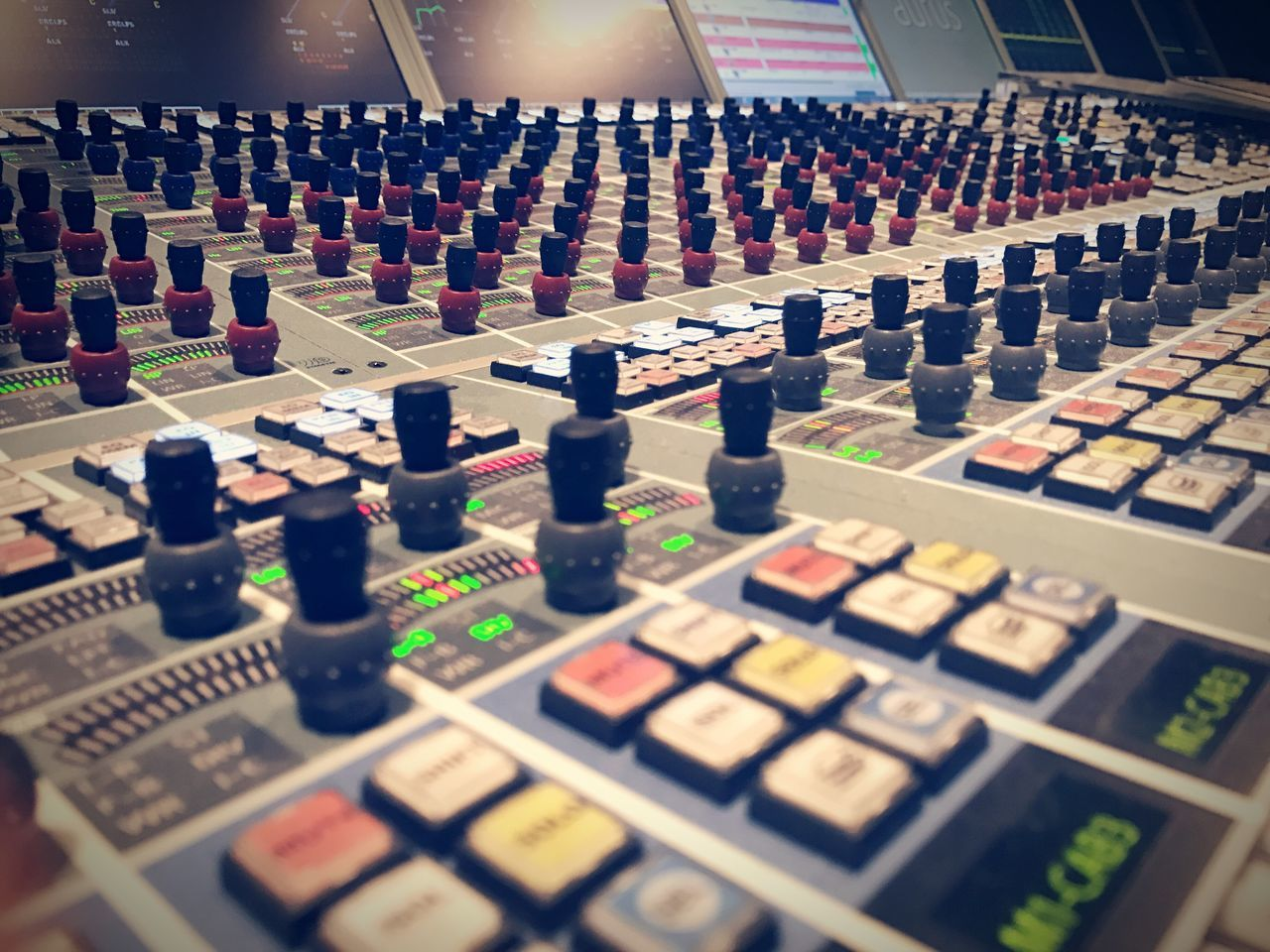 sound mixer, sound recording equipment, control panel, control, indoors, recording studio, technology, mixing, no people, music, multi colored, stereo, close-up, day, radio station