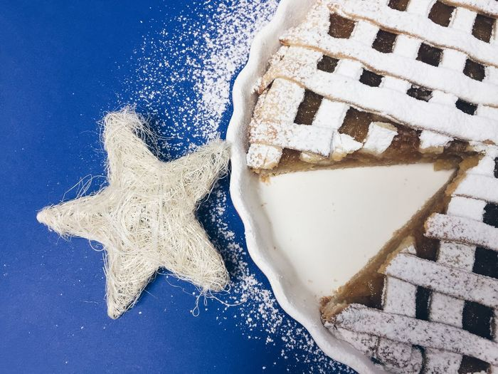 Directly Above Shot Of Pie During Christmas