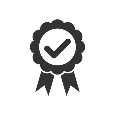 Best quality badge, approval check mark with ribbons icon for graphic design, logo, web site, social media, mobile app, ui Check Correct Ok Approved Checkmark Shape Agreement Confirm Accept Agree Good Label Best Friend Quality Badge Guarantee Premium AWARD Medal Product Ribbon Certificate Stamp Price Special