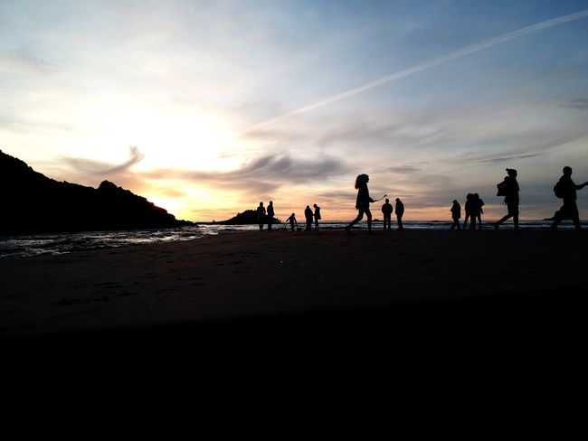 Sunset on the Beach Sunset Silhouette Tranquility Skypic Pacific Northwest  Water