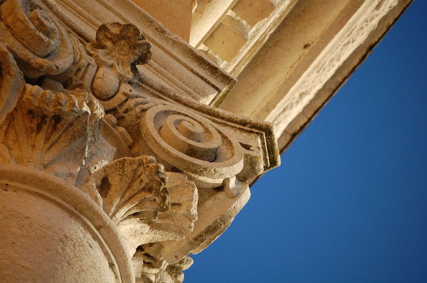 Architecture History Religion Barocco Architecture Details My City Italy Blue Sky Looking Up Church Architecture Built Structure Low Angle View Building Exterior Monument Clear Sky Tourism Columns