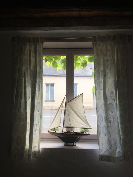Absence Curtain Window Frame Close Up Indoors Outdoors Indoor Photography Window Sill Ornaments Boat Wooden Light Light And Shadow Vines Green My Favorite Place