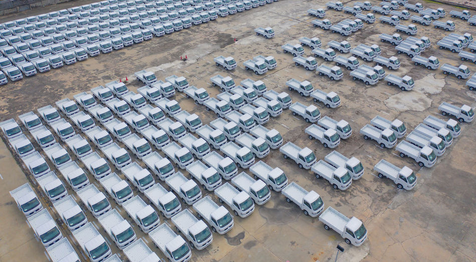 Aerial view of trucks parked outdoors