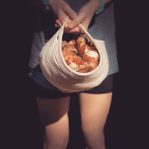Low section of woman holding food