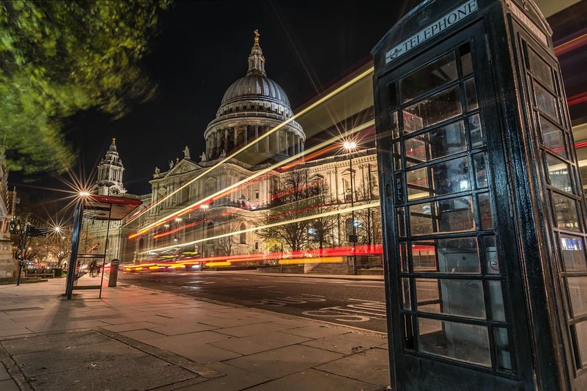 8AD | Waiting for the bus at St Paul's Cathedral London St Paul's Cathedral Long Exposure Traffic Light Trails Religious Architecture City Life Cityscapes Streetphotography All The Neon Lights Showcase: January EyeEm Masterclass Nightphotography Night Lights EyeEm Best Shots Bus Stop Bus Check This Out City Lights Need For Speed Pavements Londonlife Capital Cities  The Architect - 2016 EyeEm Awards EyeEm LOST IN London
