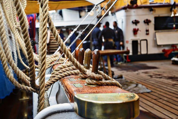 Close-up of ship rigging at harbor