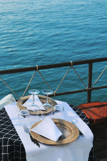 High angle view of food on table by swimming pool