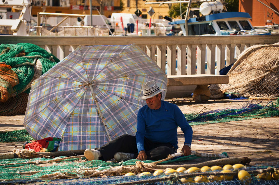 Fisherman, Palma de Mallorca Adult Adults Only Colorful Day Fisher Fisherman Fishermanslife Fishermen's Life Fishernet Full Length Harbour Mallorca Man Man With Hat Only Men Outdoors Palma Palma De Mallorca Palmademallorca People Senior Adult Umbrella