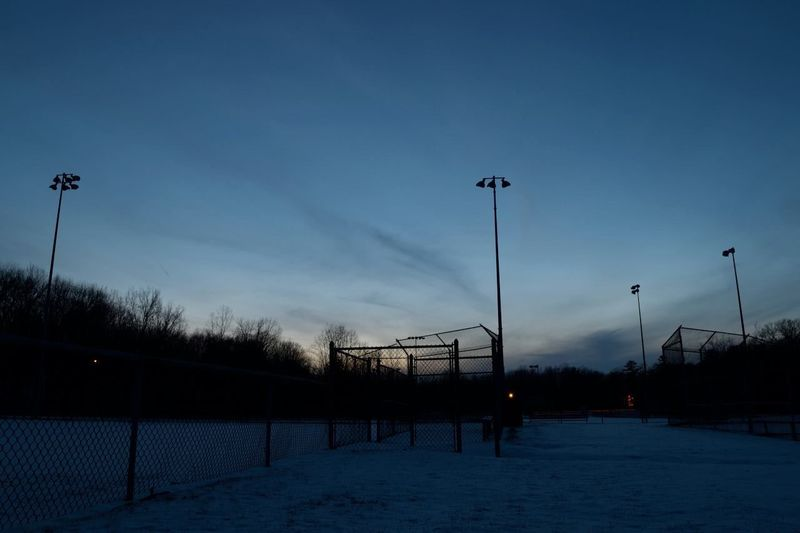 Park Baseball field winter sunset Park Baseball Winter Snow Sunset
