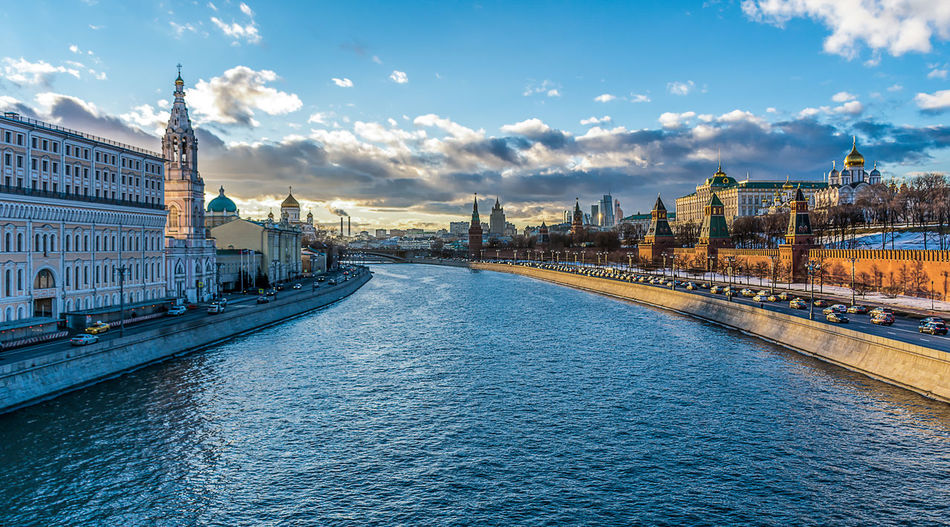 View of river through moscow city