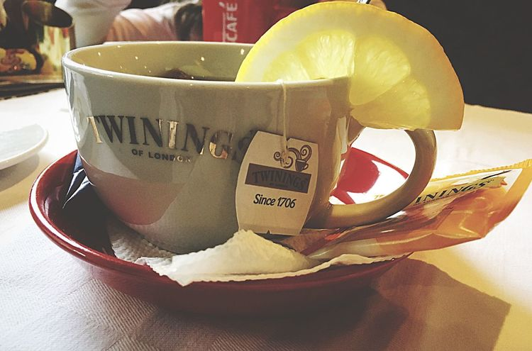 Twinings🍋🌼🌞 Food And Drink Text Drink Table Cup Indoors  Saucer Refreshment Coffee Cup Plate Tea - Hot Drink Food Teabag SLICE Close-up Freshness No People Healthy Eating Sweet Food Day