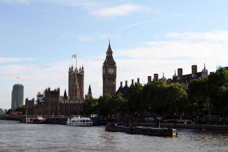 Big ben in city by river