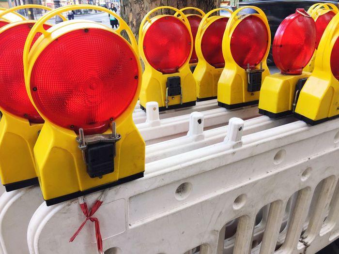 Road reflectors at construction site