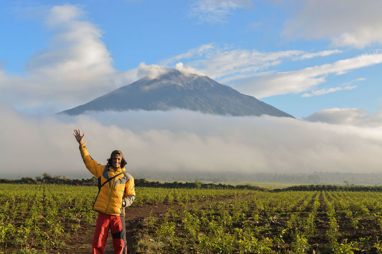 In the morning on the kay uaro tea plantation and the background of the kerinci mountain view