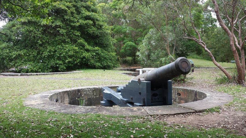 Battlement Cannon Circle Circular Day Defence Military Outdoors Overcast Sydney Harbour  Trees
