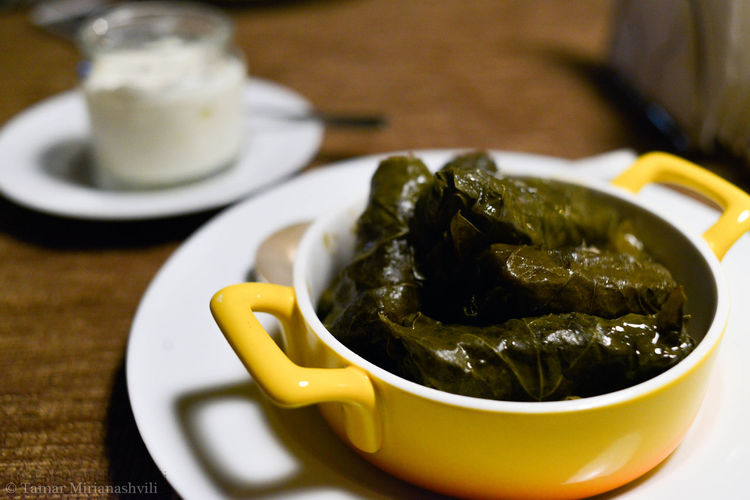 Asian Food Delicious Dolma EyeEm Best Shots EyeEmBestPics Focus On Foreground Food Food And Drink Food Photographer Food Photography Food Porn Foodgasm Georgia Georgian Cuisine Gourmet Grape Leaves Greek Yogurt Professionalphotography Table Tamar Mirianashvili