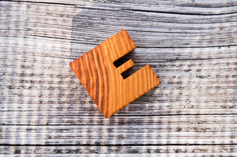 Close-Up Of Letter E On Table