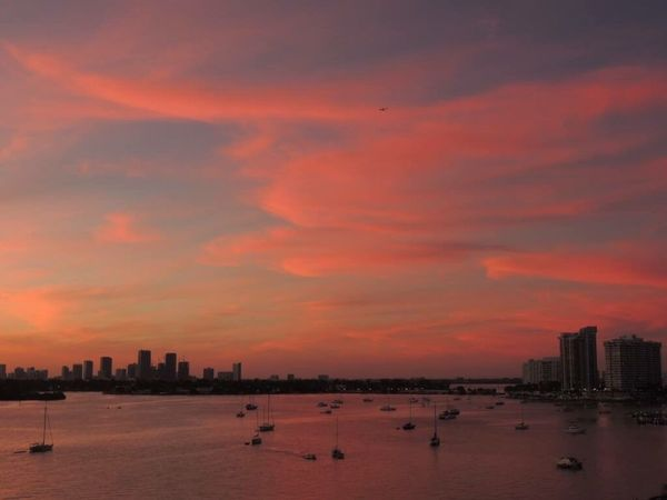 Amazing Sunset Sunset Pink Clouds And Sky Clouds Pinks Sky Colors Sky Lover Sunset_collection Sunsetlover Sunset And Clouds  Sky And City Sky Collection Clouds Reflections On Water The Purist (no Edit, No Filter) Biscayne Bay Enjoying The View