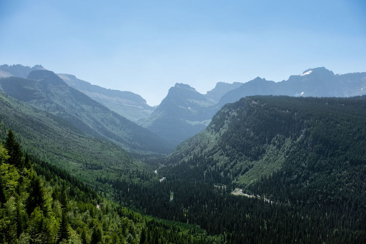 Glacial valley in glacier national park Glacier National Park Montana Wild West Wilderness Mountains Outdoors Peaceful Peacefulness Quiet Tranquillity Tranquil Scene Nature North America Valley Valleys Mountain Scenics - Nature Mountain Range Sky Beauty In Nature Environment Landscape Tranquility Land No People Idyllic Day Pine Tree Mountain Peak Coniferous Tree