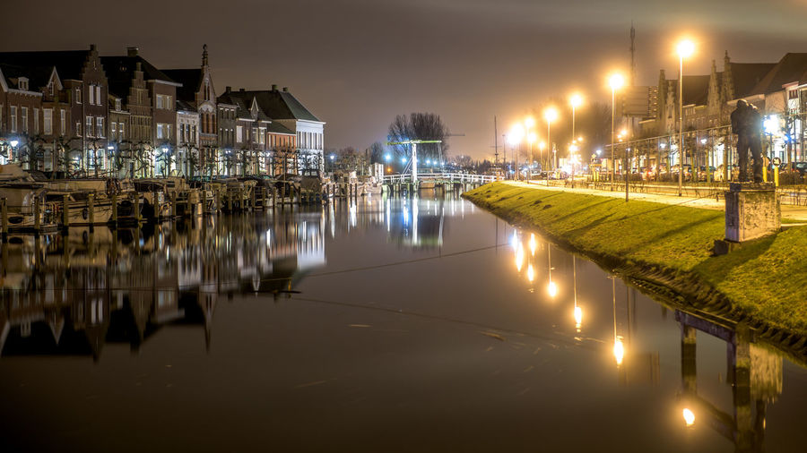 Dark Engineering Industrial Night Night Lights Nightphotography No People Perspective Reflection Reflection Residential District River Sas Van Gent Waterfront Waterreflections  Winter
