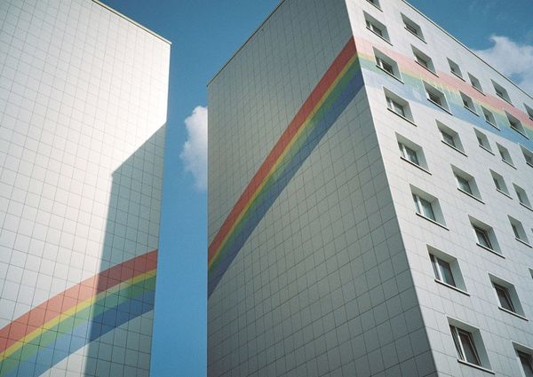 🌈🏢 Rainbow Architecture Berlin 35mm Filmisnotdead Analogue Photography Streetphotography Daydreaming Colors Summer Hidden Gems  Colour Of Life TakeoverContrast Capture Berlin Minimalist Architecture The City Light