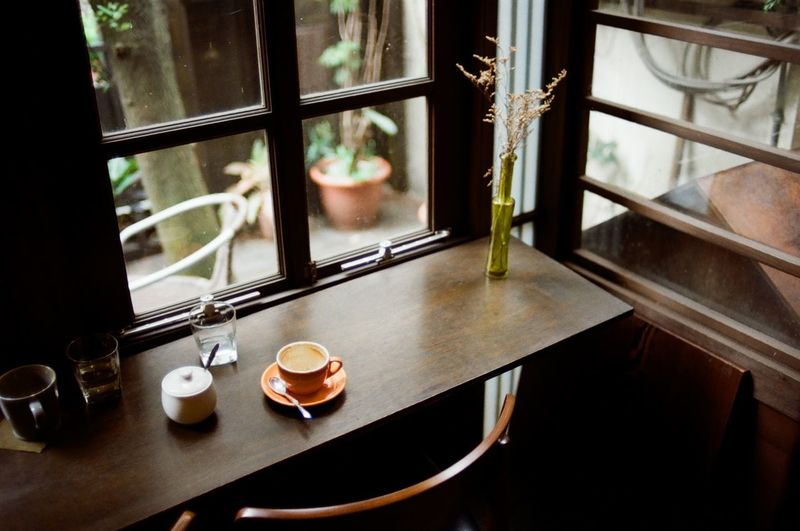 Close-up Coffee Coffee Cup Coffee Time Day Film Photography Filmisnotdead High Angle View Indoors  No People Table Window Investing In Quality Of Life