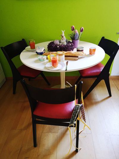 Chairs and tables on table