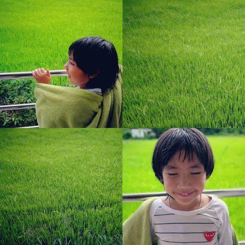 Happy boy on field