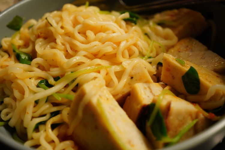 Close-up of noodles served in plate