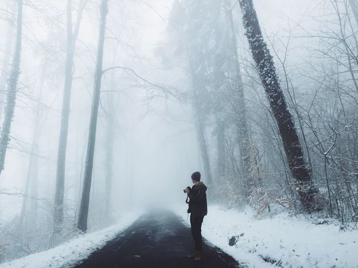 Winter is still there Winter Wintertime Winter Wonderland Fog Mist Nature Nature_collection Road Young Adult Photowalk Trees White White Album Showcase March Non Urban Scene EyeEm Nature Lover Outdoors Things I Like Nature's Diversities People And Places My Year My View