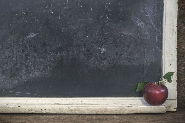 Blank vintage chalkboard with wooden frame with red apple, space for text Copy Space Old Fashioned Rustic Apple Apple - Fruit Blackboard  Blackboard  Blank Chalkboard Close-up Day Eaten Education Food Food And Drink Freshness Fruit Healthy Eating No People Red Still Life Table Vintage Wellbeing Wood - Material