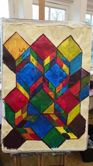 Multi Colored Art And Craft Indoors  Pattern No People Built Structure Day Architecture Close-up (c) 2017 Shangita Bose All Rights Reserved Creativity Paper Own Design Square Format Lovers Geometric Shapes Cubes Triangle Painted Image Acrylic Painting AI Now EyeEm Ready