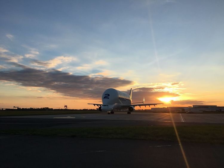 A300-600 Airbus Aircraft Airplane Airport Airport Runway Beluga Cargo Plane Cloud - Sky France IPhoneography Sunset Supertransporter Taxiway Transportation