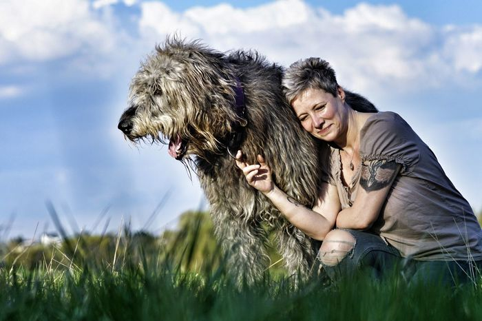 Nature Women Beauty In Nature Happiness Sky Have A Nice Day♥ Hello World Willi The Wolfhound Irishwolfhound Irish Wolfhound Gentle Giant. Dogs Of EyeEm Mommys Boy❤ Love ♥ Animal Themes Photo ByDomestic Animals Togerherness Lovedogs