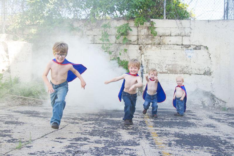 Superhero Brothers Boys Boys Will Be Boys BoysBoysBoys Brothers Casual Clothing Enjoyment Family Full Length Fun Lifestyles Outdoors Portrait Pretending Styled Superheroes