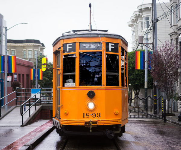 Walking the streets of San Francisco in Castro district as it rained. Saw this cable car all by itself and had to shoot it in its new environment. From Milan, Italy all the way to the states, what a journey this car has had! Angles Architecture Bus Cable Car California Castro City City Life City Street Journey Mode Of Transport Outdoors Public Transportation Rainbow San Francisco Street Street Photography Streetphotography Streets Transportation Travel Trolley Vehicle Yellow