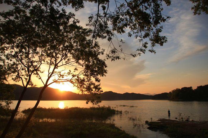 Sunset Fishing Man Lake
